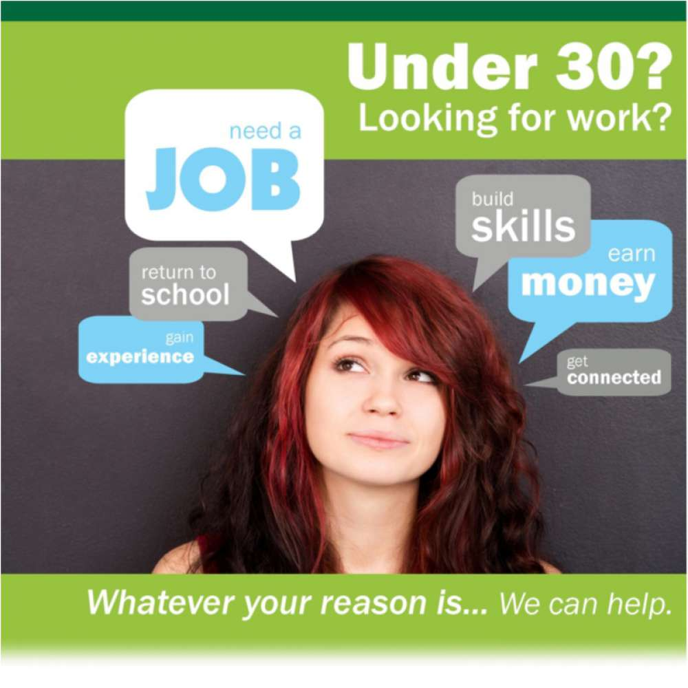 Youth Employment Poster. Under 30, looking for work? We can help.