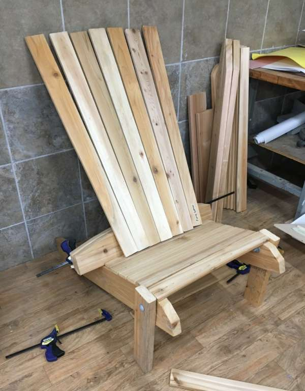 Muskoka chair before staining